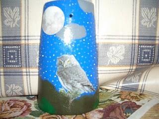 "Tegola decorata a decoupage: tema ""La notte"""
