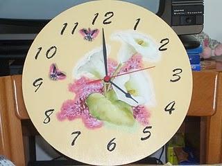 Orologio decorato a decoupage