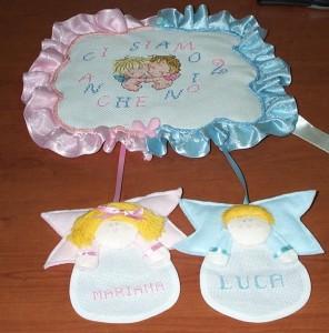 Fiocchi nascita per gemelli realizzati da Lena Maria