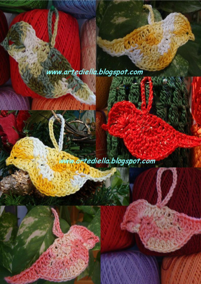 Carinissimi questi uccellini realizzati da Mariella all'uncinetto