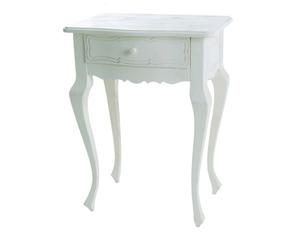 Il romantico tavolino con cassetto è realizzato artigianalmente in stile shabby chic/provenzale.