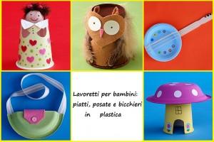Lavoretti per bambini con bicchieri, piatti e posate in plastica
