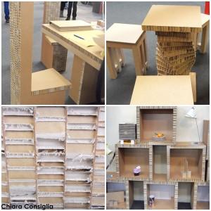 A Curiosa in Fiera mobili e accessori in cartone, esclusiva di Aldina Progetti
