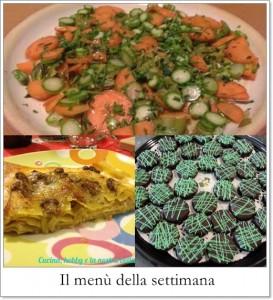 Il menù della settimana: lasagne ai funghi, verdure marinate, dolcetti cacao e menta