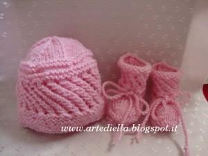 scarpette cappello neonato ferri modello