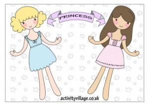 Bambole di carta da tagliare , colorare e vestire