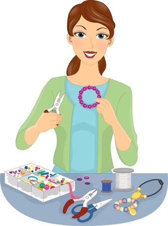 donna che fa gioielli