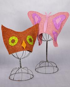 Farfalla di stoffa-Video tutorial-http://www.marthastewart.com/article/felted-owl-and-butterfly-hats?backto=true